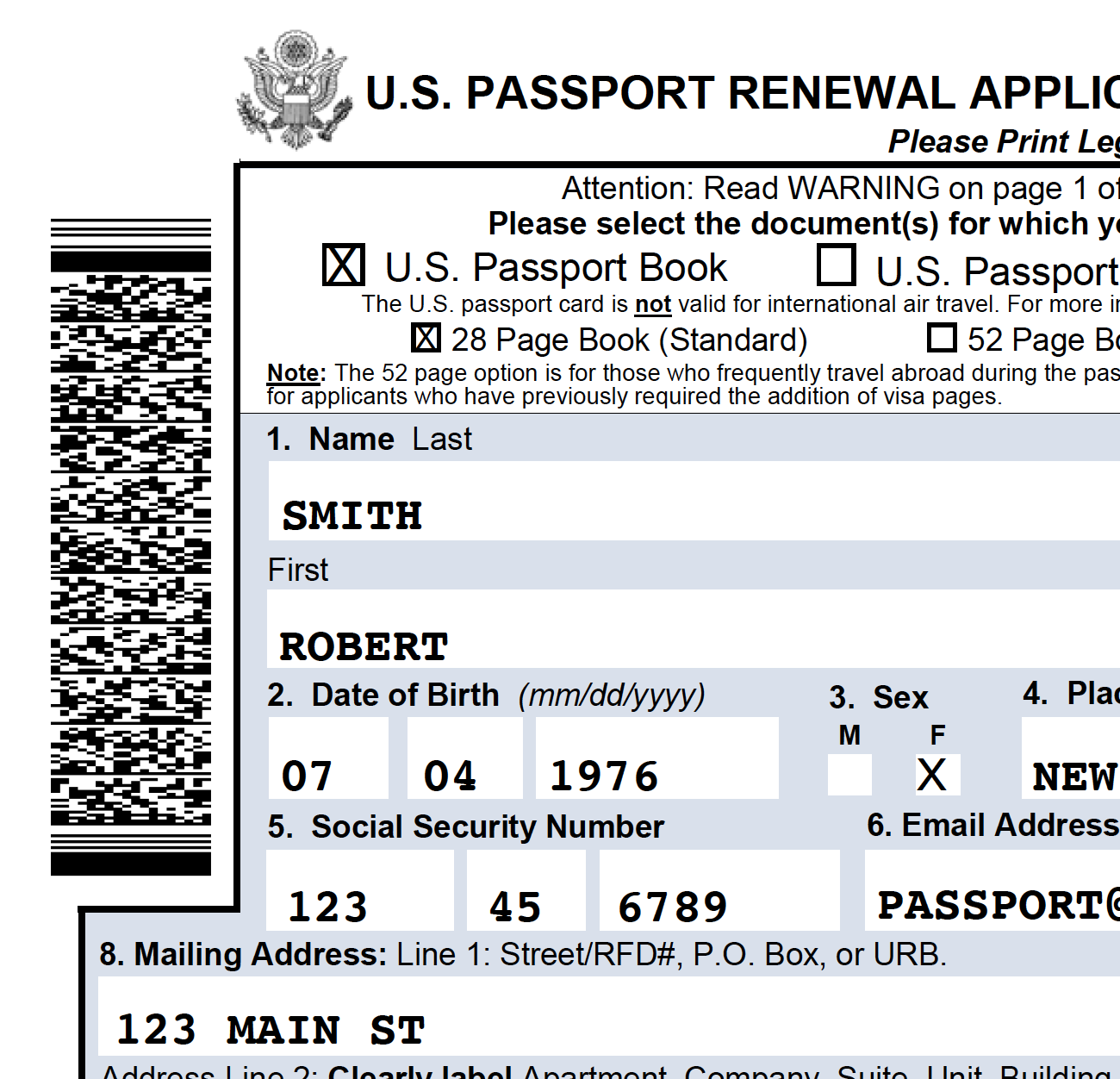 Ds82 Passport Renewal Application Barcode
